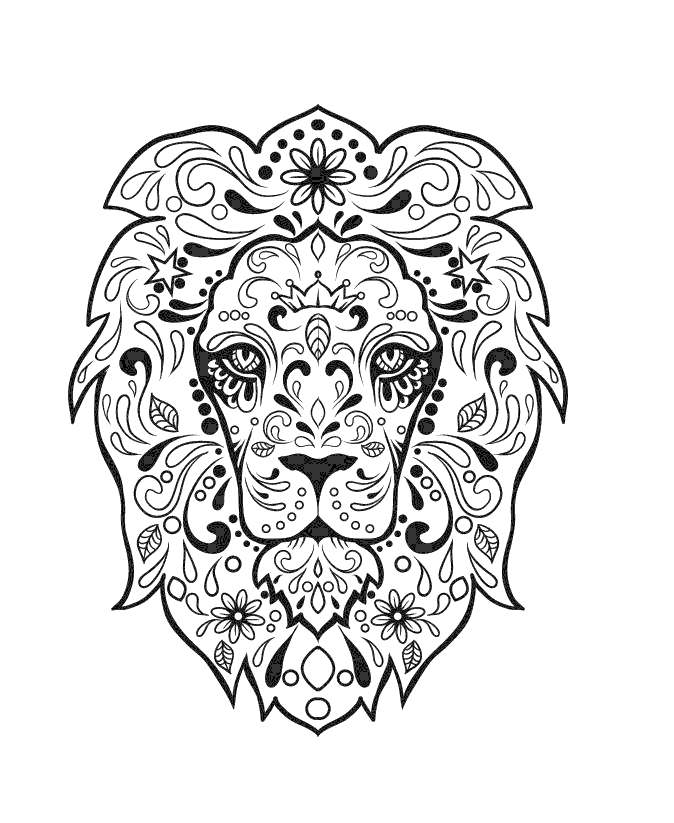 Free Calavera Coloring Pages Lion Sugar Skull printable