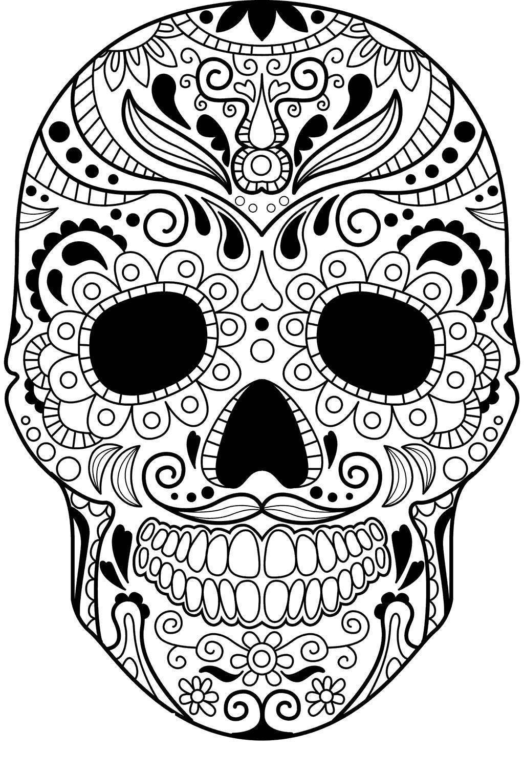 Free Calavera Coloring Pages Mandala Picture printable