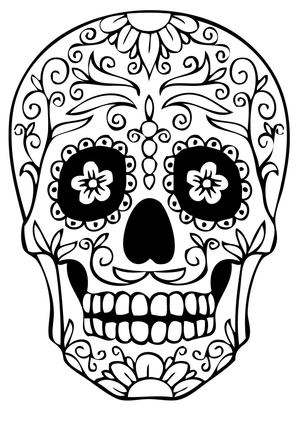 Free Calavera Coloring Pages Skeleton Mask printable