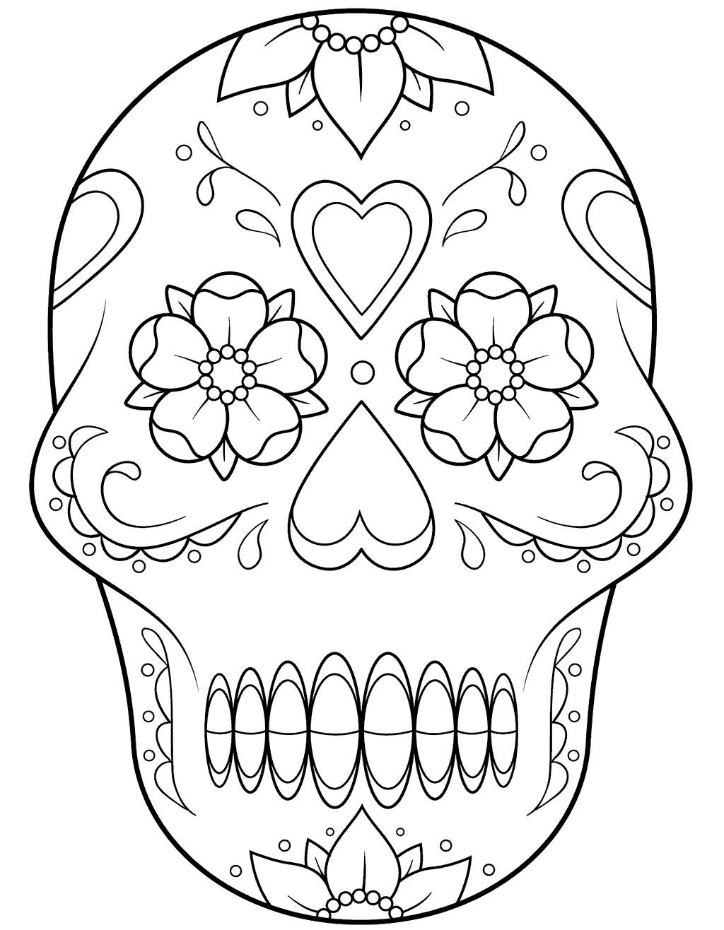 Free Calavera Coloring Pages Skeleton With Flowers And Hearts printable