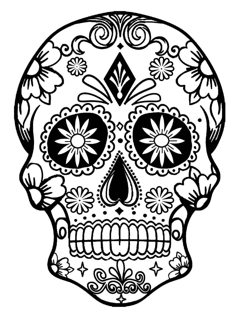 Free Calavera Coloring Pages Tattoo Pattern printable