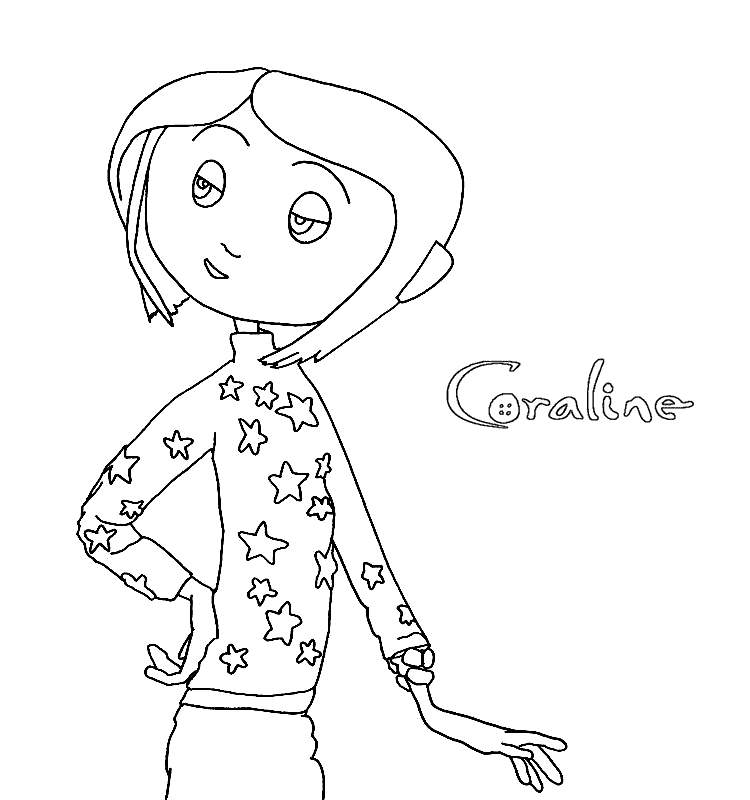Free Coraline Coloring Pages Outline printable