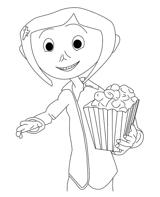 Free Coraline Coloring Pages Popcorn printable