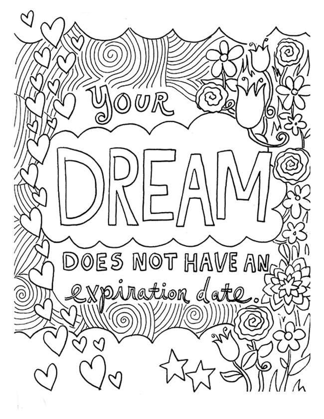 Free Dream Mindfulness Coloring Pages printable