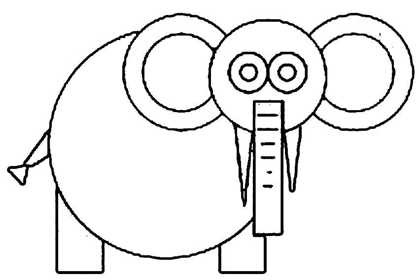 Free Elephant Shapes Coloring Pages printable