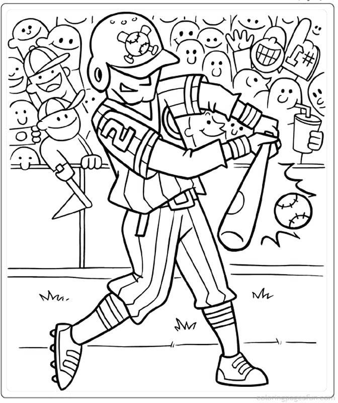 Free Hitting The Softball Coloring Pages printable