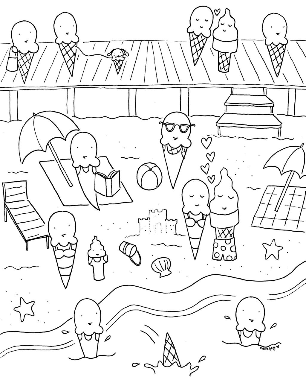 Free Ice Cream Mindfulness Coloring Pages printable