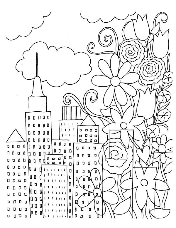 Free Mindfulness Coloring Pages Buildings for Girls printable