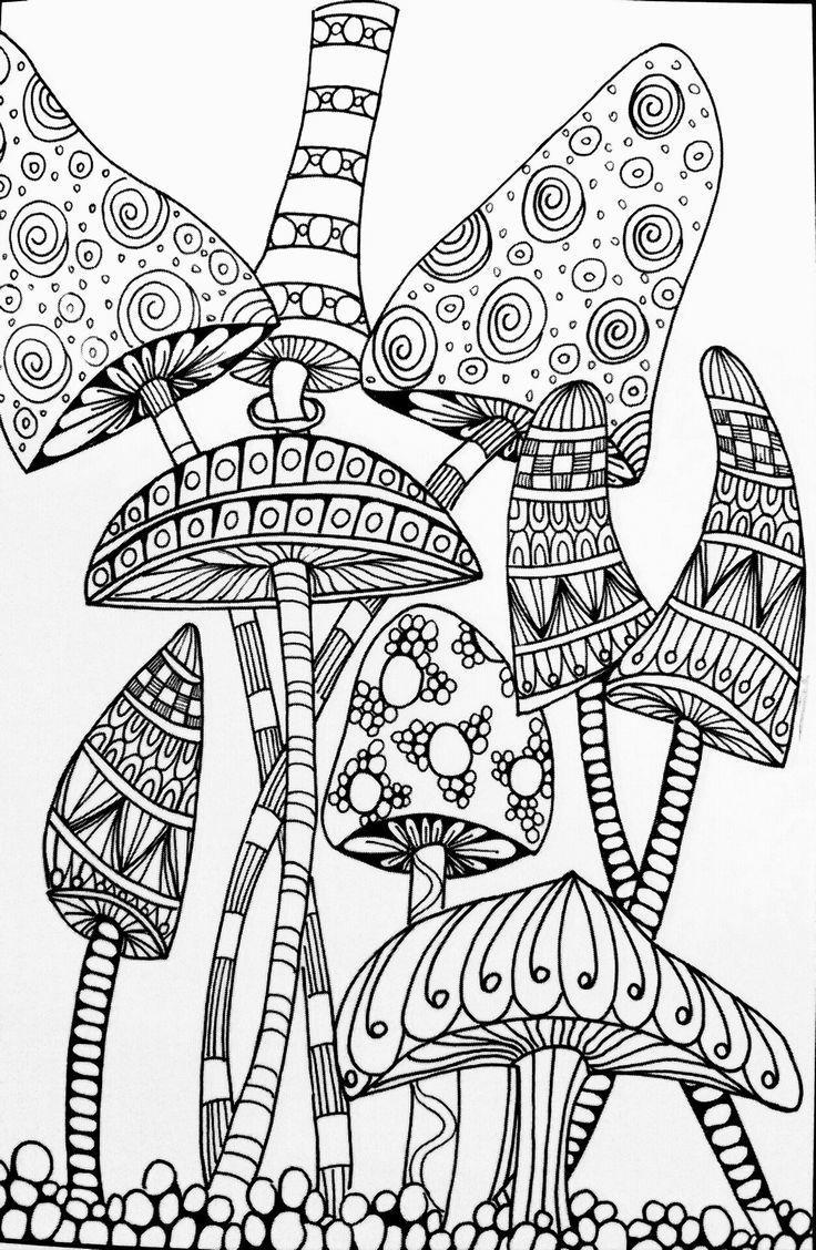 Free Mushrooms Aesthetic Coloring Pages printable