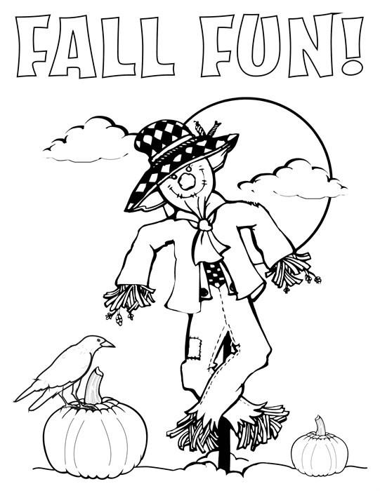 Free September Fall Fun Coloring Pages Scarecrow printable