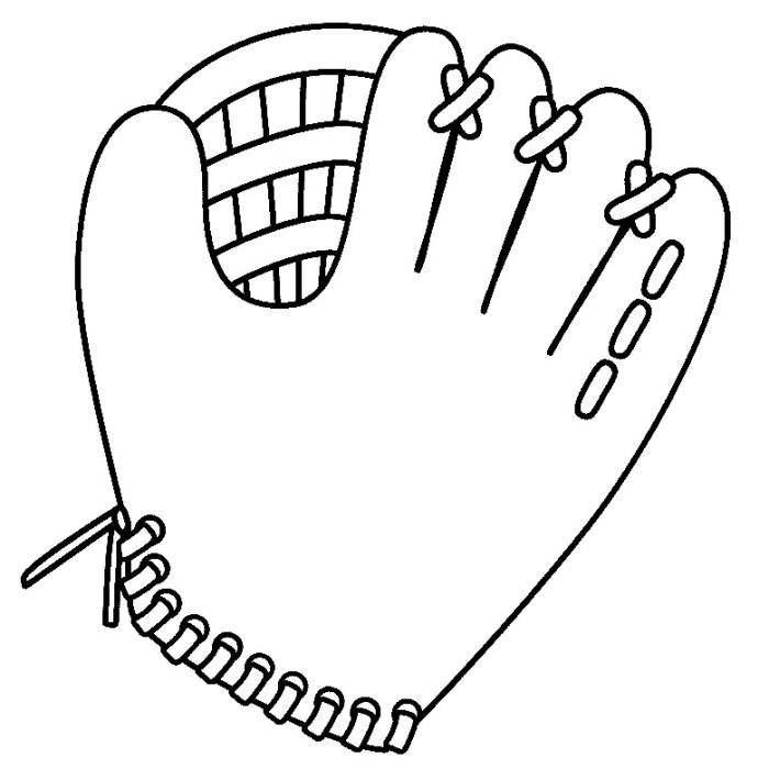 Free Softball Coloring Pages Glove Linear printable