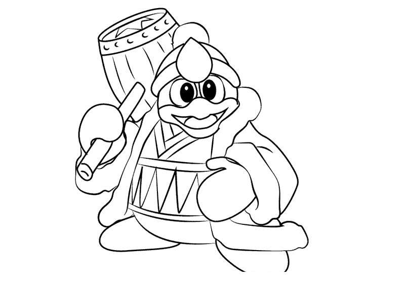 Free Super Smash Bros Coloring Pages King Dedede With Hammer printable