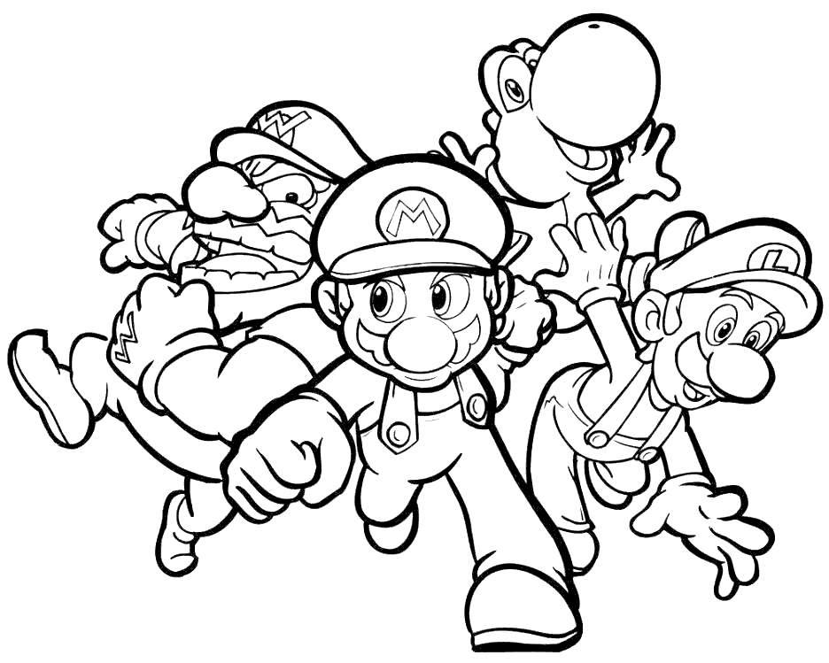 Free Super Smash Bros Coloring Pages Mario And Wario printable