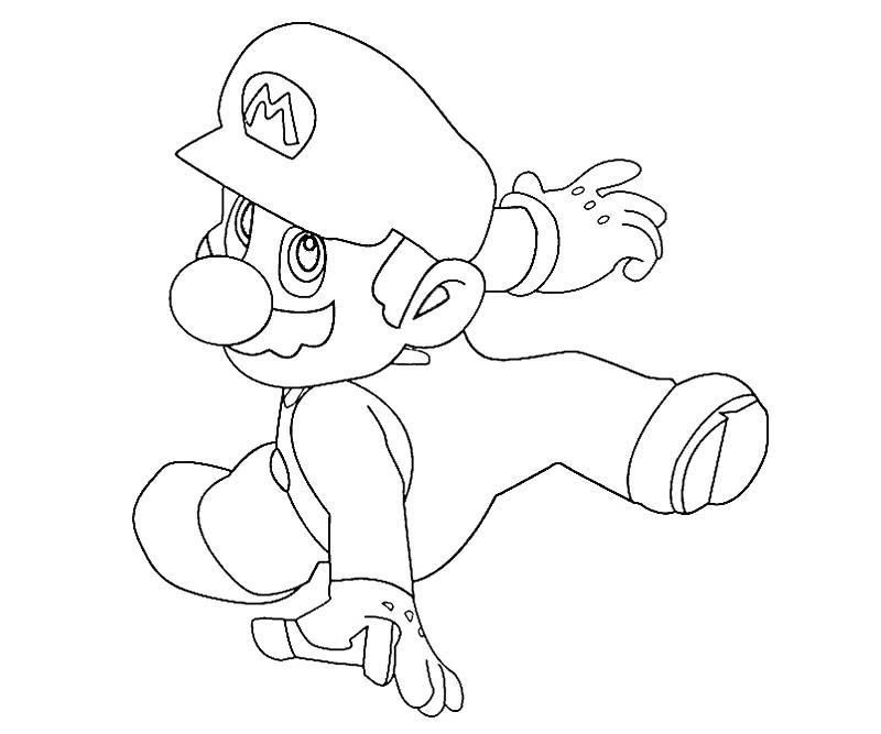 Free Super Smash Bros Coloring Pages Mario Is Running printable
