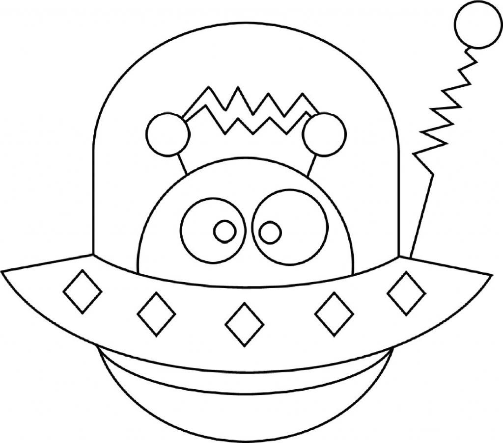 Free Alien in UFO Coloring Pages printable