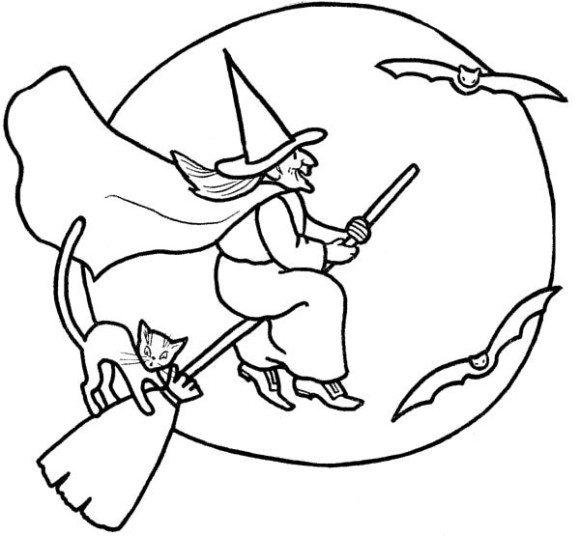 Free Bats and Witches Coloring Pages printable