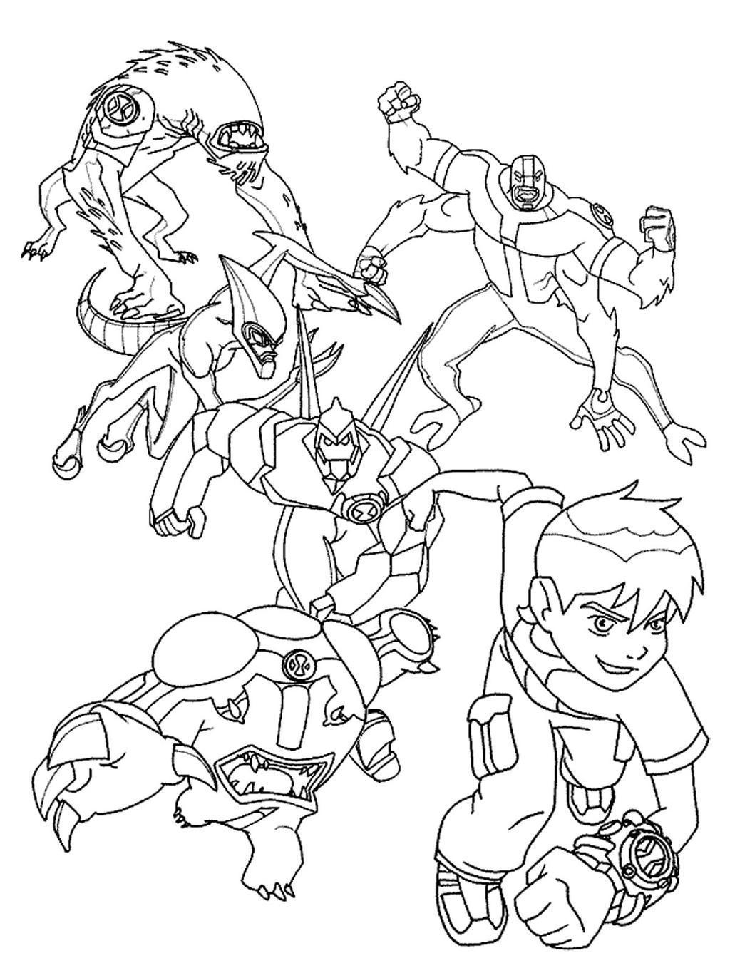 Free Ben 10 Aliens Coloring Pages printable
