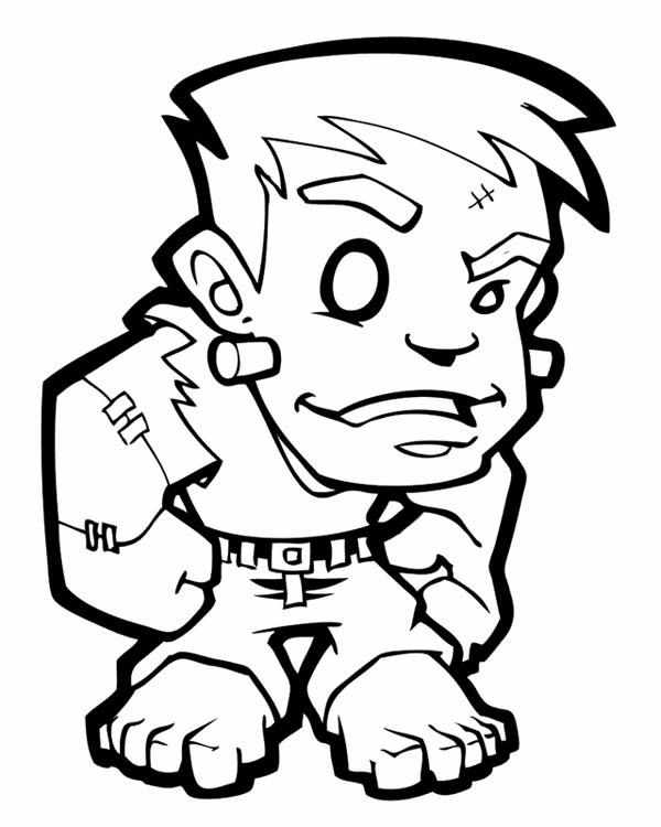 Free Boy Frankenstein Coloring Pages printable