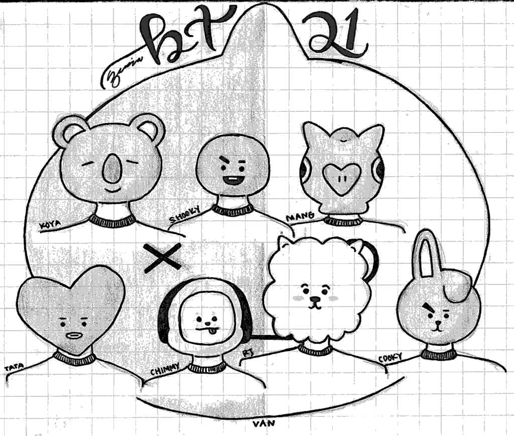 Free Bt21 Coloring Pages Pencil Drawing printable