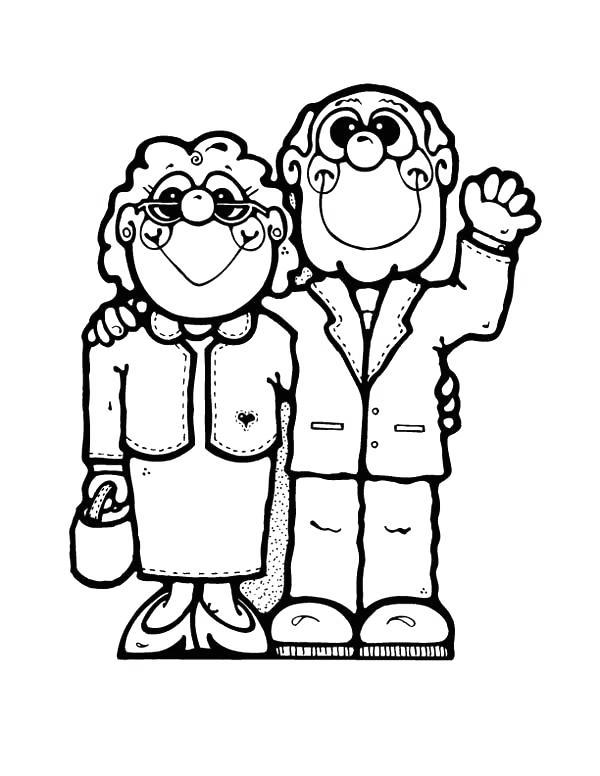 Free Cartoon Grandparents Day Coloring Pages printable