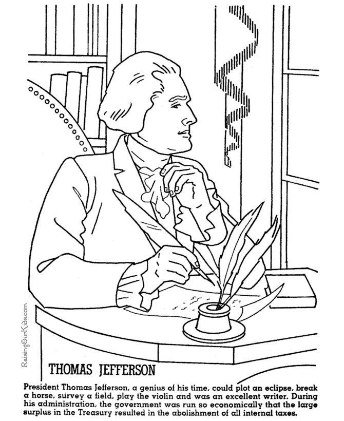 Free Constitution Coloring Pages Thomas Jefferson printable