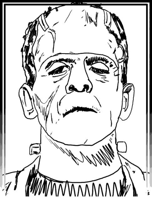 Free Frankenstein Coloring Pages Hand Drawing printable
