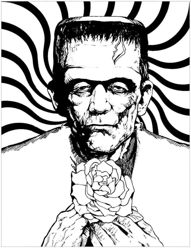 Free Frankenstein and Rose Coloring Pages printable