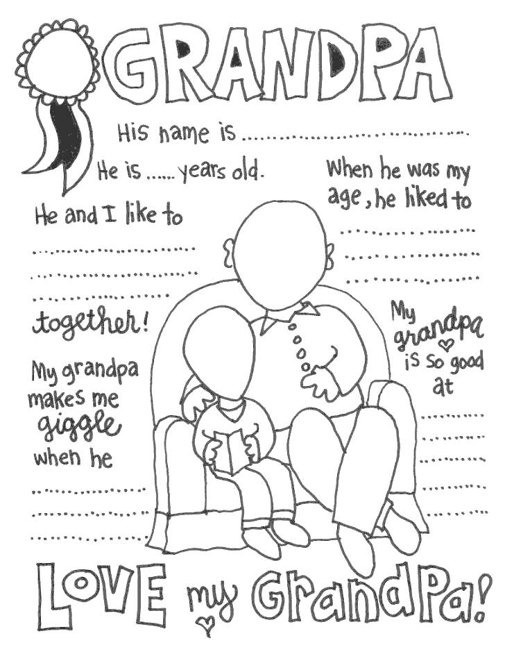 image regarding All About My Papa Printable titled Grandparents Working day Coloring Internet pages All Relating to My Grandpa - Cost-free