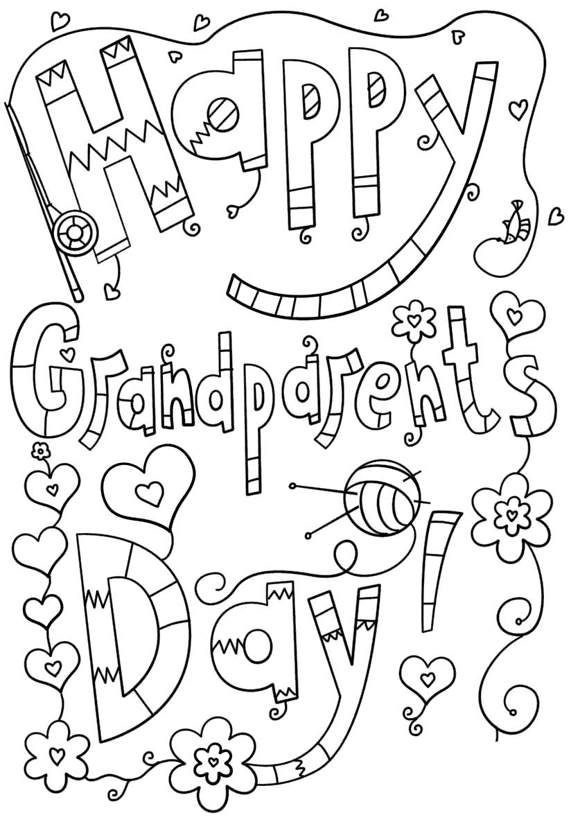 Free Grandparents Day Coloring Pages Doodles Sketch printable