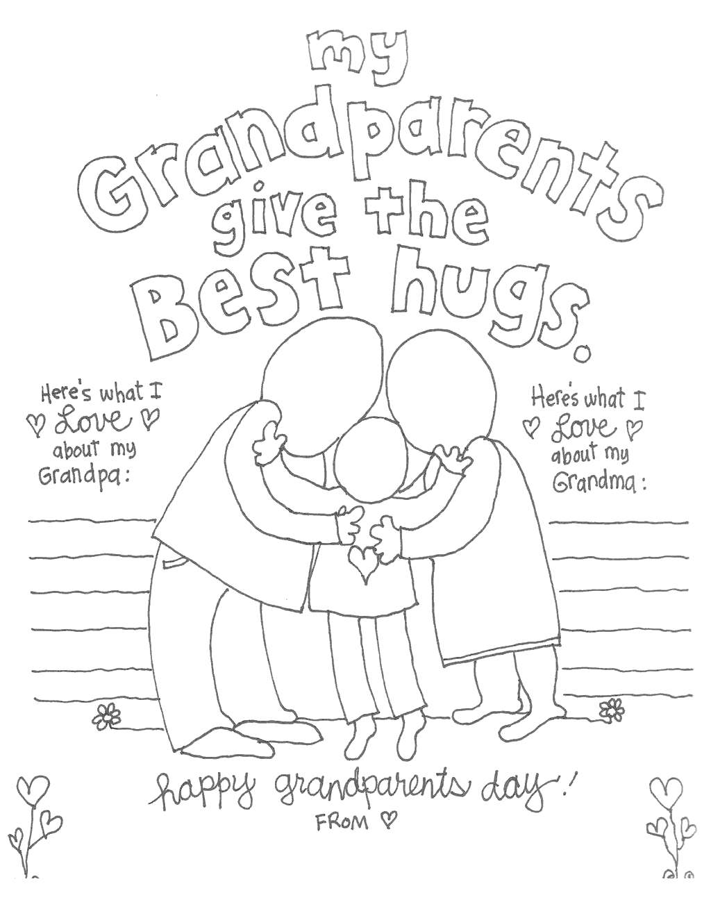 Free Grandparents Day Coloring Pages Give the Best Hugs printable