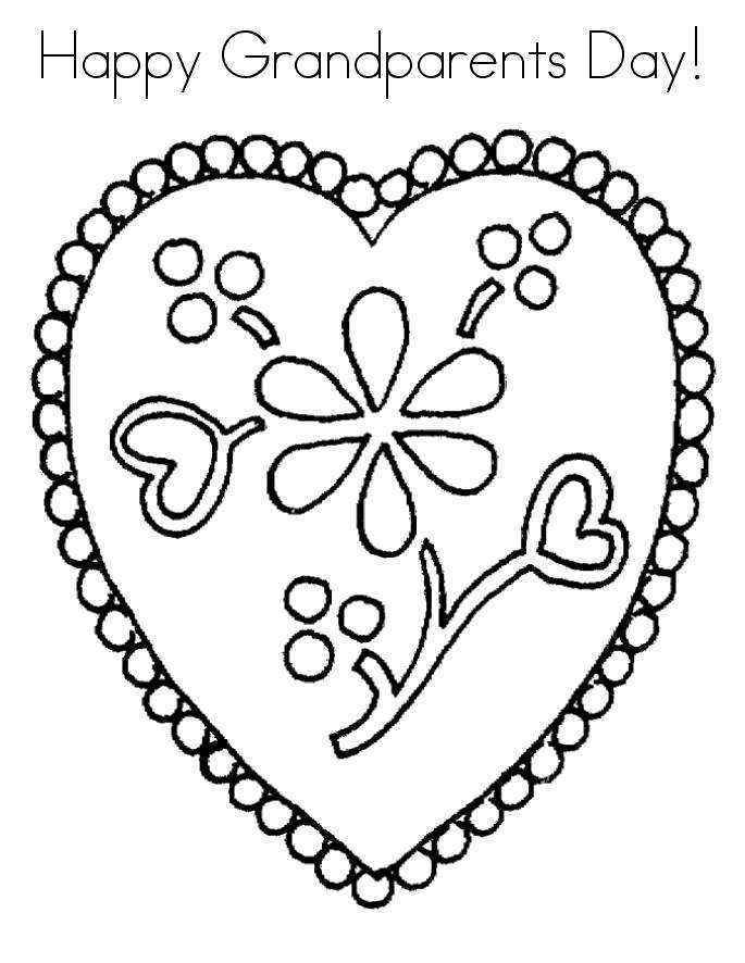 Free Grandparents Day Coloring Pages Heart Frame printable