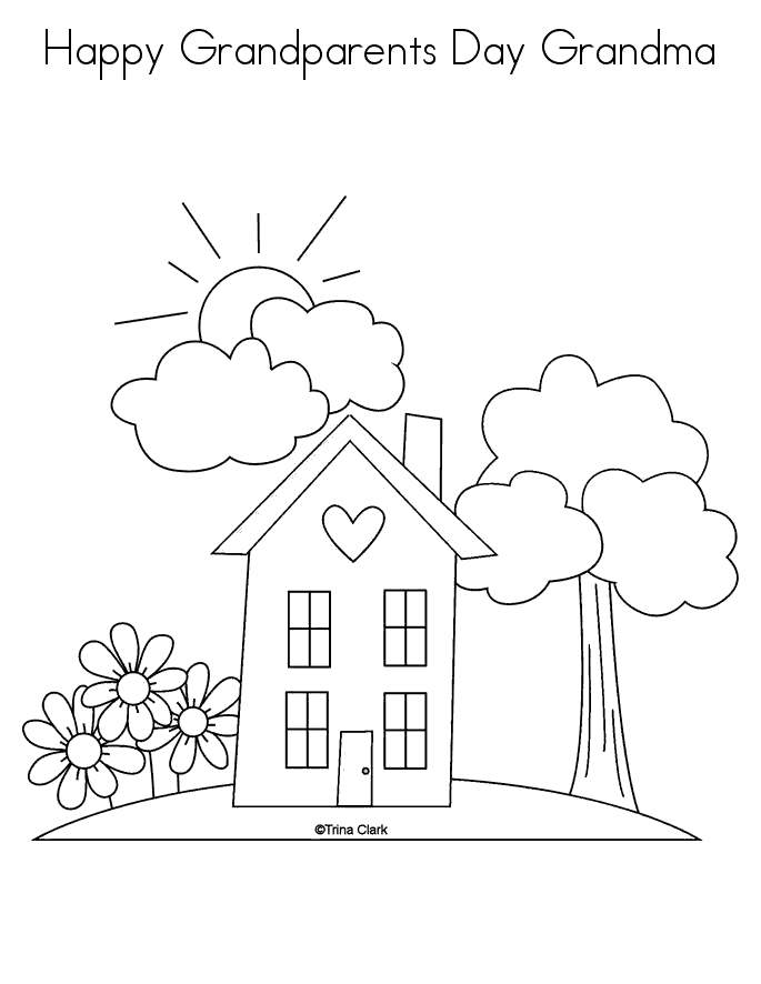 Free Grandparents Day Coloring Pages House Coloring Sheets printable