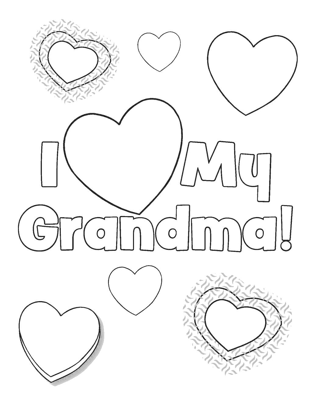 Free Grandparents Day Coloring Pages I Love Grandma printable