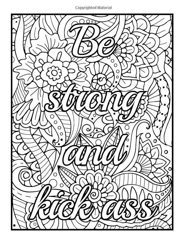 Free Motivational Coloring Pages Be Strong And Kick Ass printable