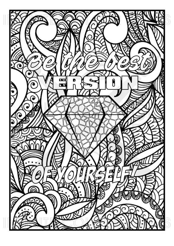 Free Motivational Coloring Pages Be The Best Version Of Yourself printable
