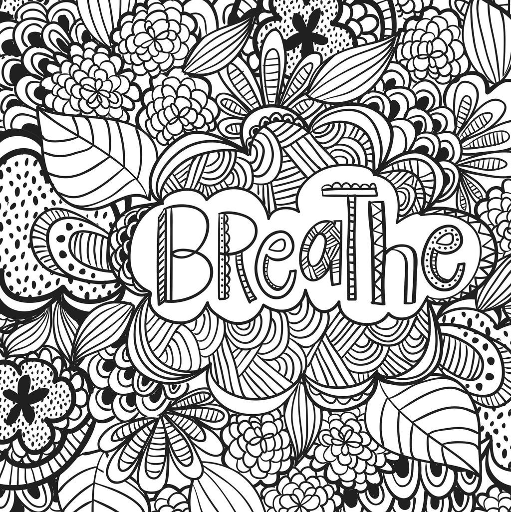 Free Motivational Coloring Pages Breathe for Kids printable