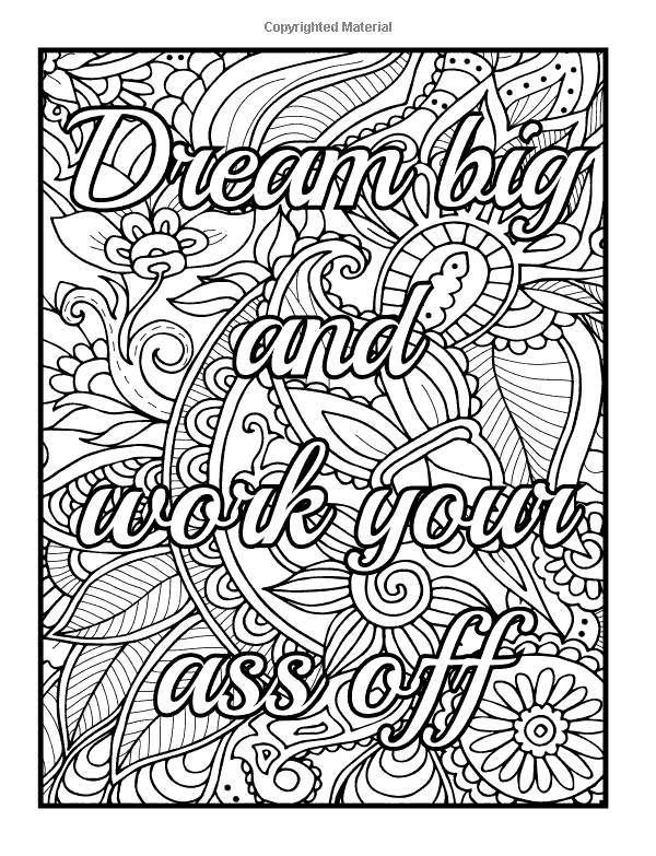 Free Motivational Coloring Pages Dream Big And Work Your Ass Off printable