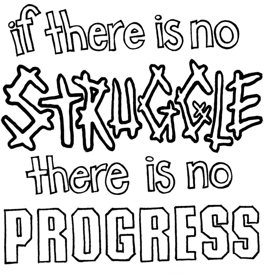Free Motivational Coloring Pages No Struggle No Progress printable