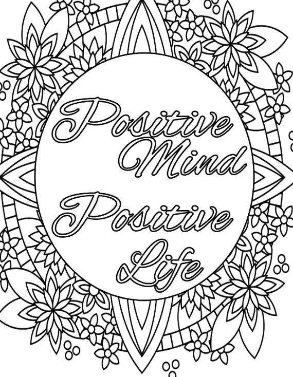 Free Motivational Coloring Pages Positive Mind printable