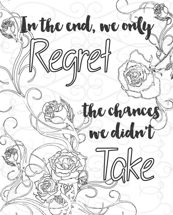 Free Motivational Coloring Pages Regret The Chances We Didnt Take printable
