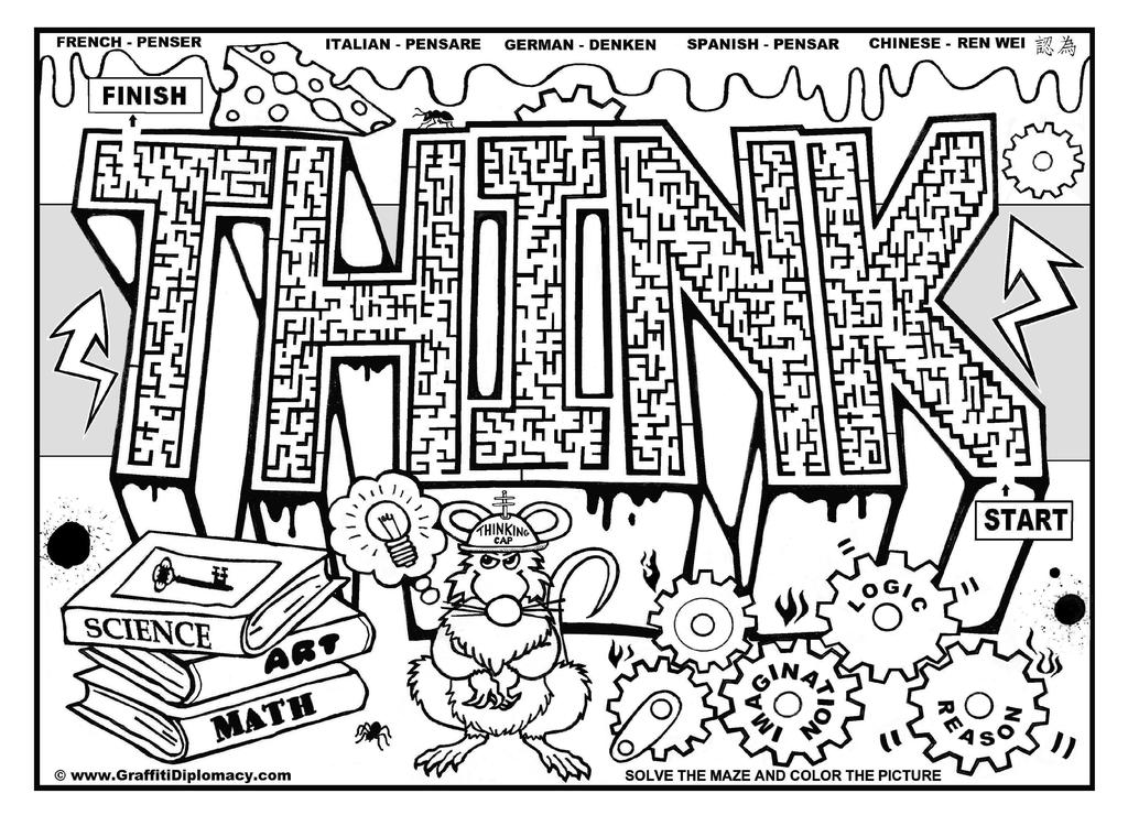 Free Motivational Coloring Pages Think Lineart printable