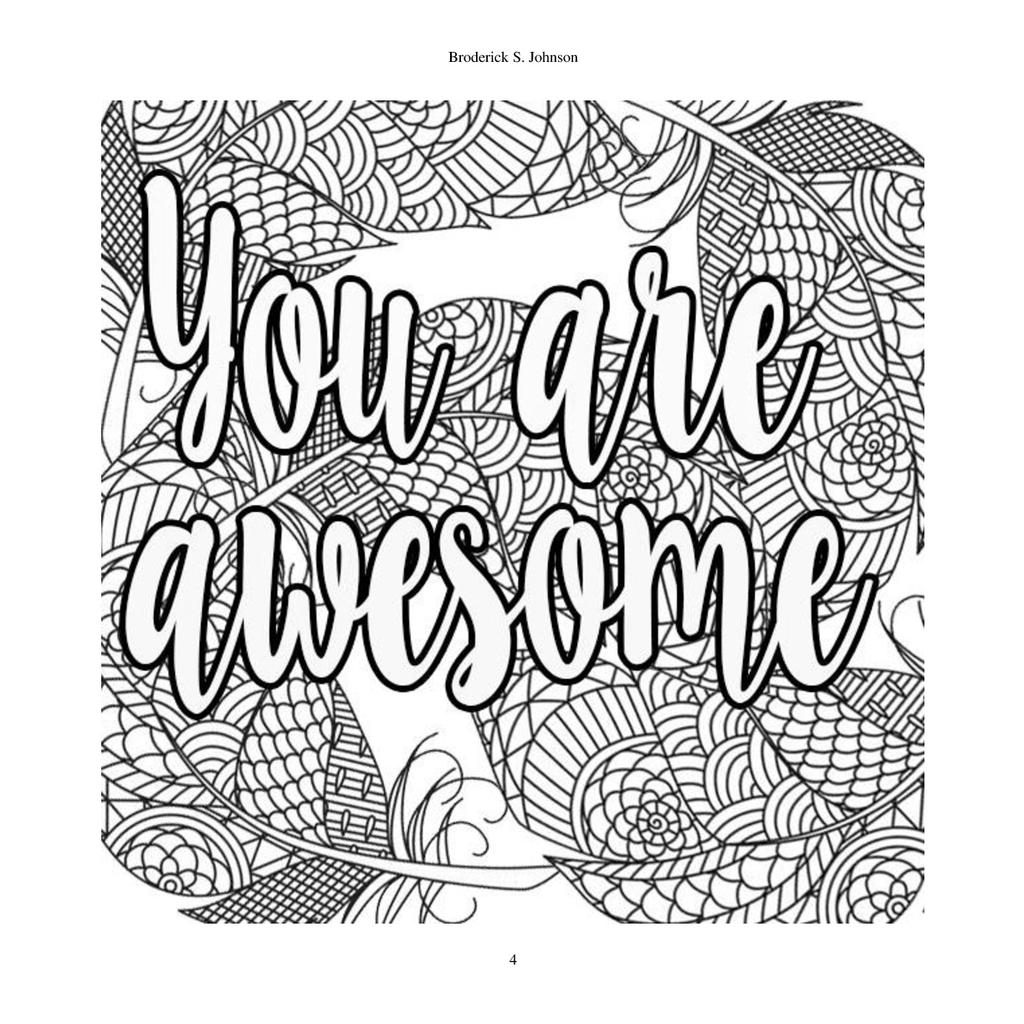 Free Motivational Coloring Pages You Are Awesome printable