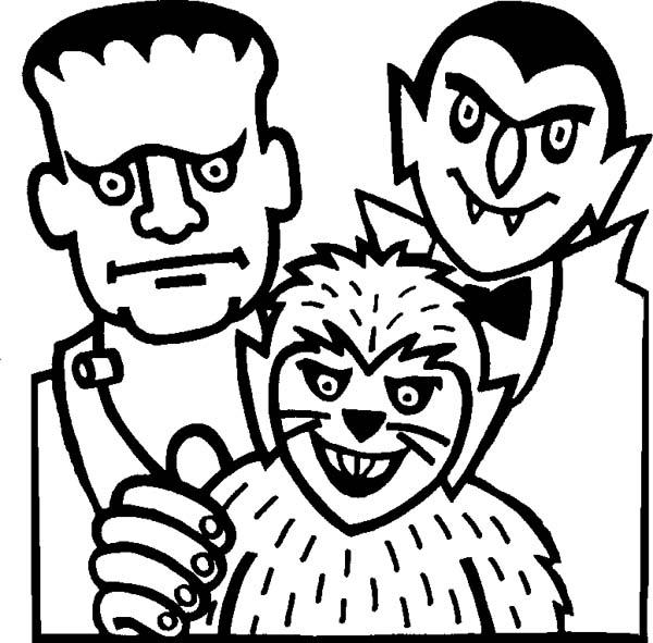 Free Mr Count Draculas and Frankenstein Coloring Pages printable