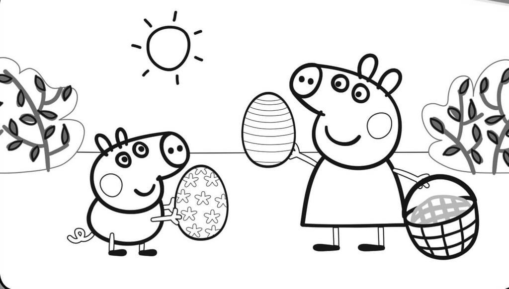Free Peppa Pig Coloring Pages Easter Eggs printable
