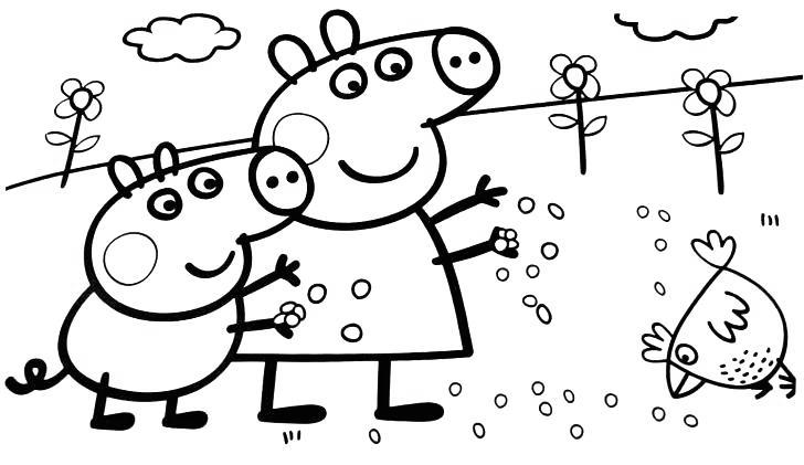 Free Peppa Pig Coloring Pages Feed Chicken printable