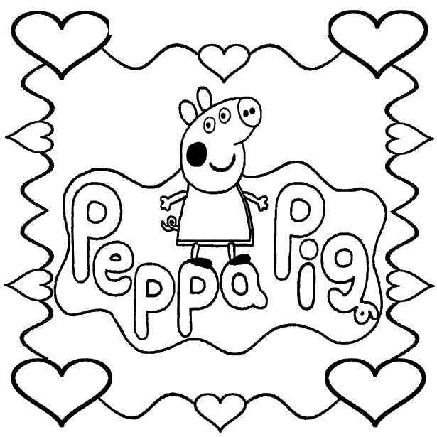 Free Peppa Pig Coloring Pages Picture with Frame printable
