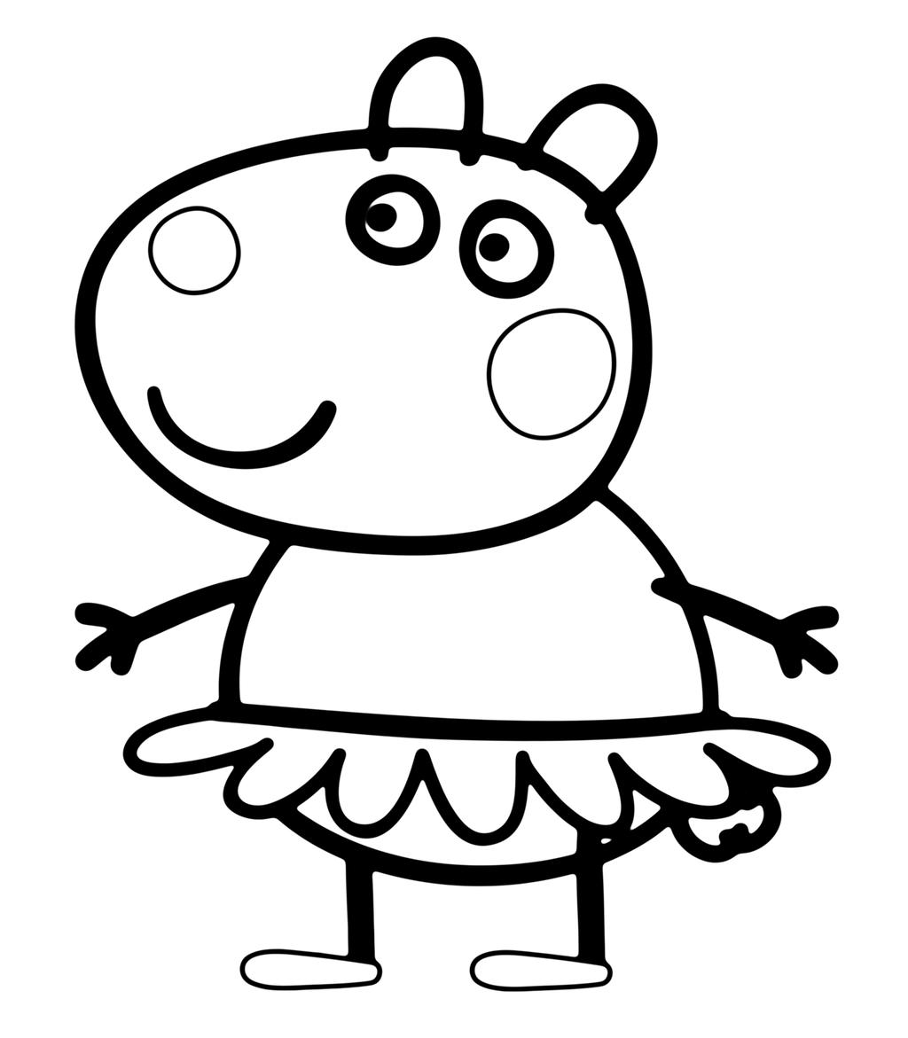 Free Peppa Pig Coloring Pages with Swimwear printable