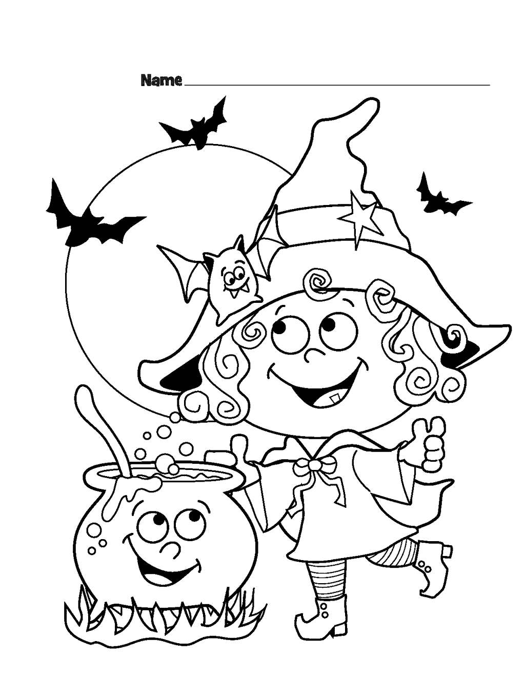 Free Witches Coloring Pages Cute Girl printable