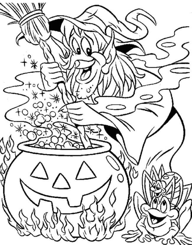 Free Witches Coloring Pages Making Soup printable