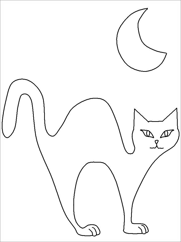Free Black Cat Coloring Pages Worksheets printable